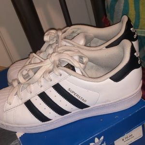 White And Black Adidas Superstar Shoes size 4.5 J